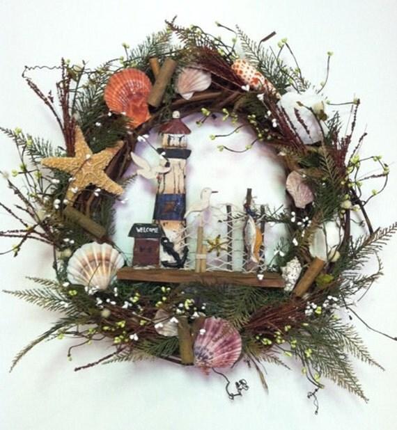 Wreath Beach Light House Door Wreath