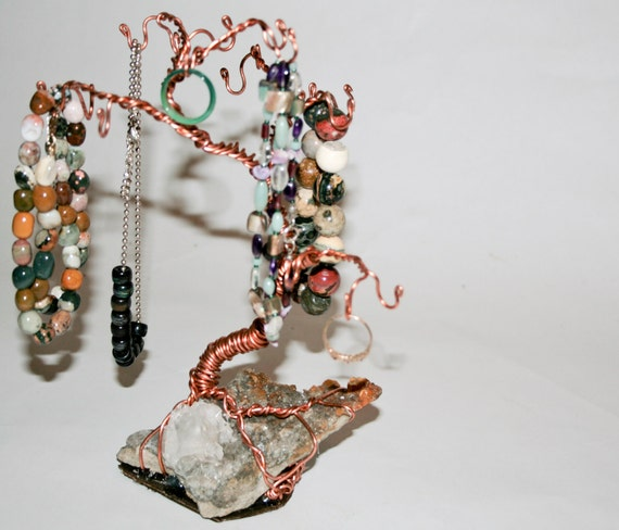 Reclaimed Copper Wire and Angel Wing Calcite Crystal - Bonsai Jewelry Tree - OOAK