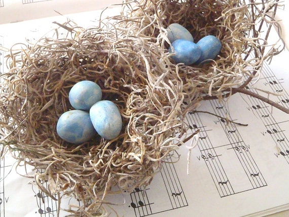 """Shabby Chic Birds Nests - 3"""" spanish moss nests w/ blue eggs, set of TWO"""