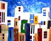 The silk city-Original acrylic painting - free shipping-wall art - modern art - original art - amazing painting