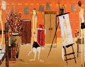 Abstract art - Original Painting- Home decor - Wall art -Interior design - ready to frame- abstract art - orange - golden