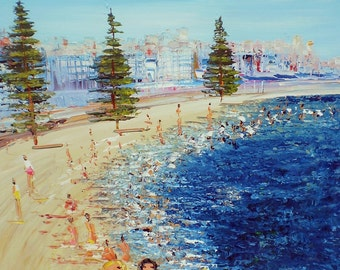 Manly Beach- Original Painting - Beach Painting - Beach house -  modern painting - Home - Ocean - Australian Seascape-Beach decor - oz art