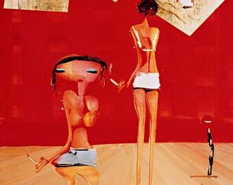 Original Abstract Painting - Models - Modern Art - Sydney Artwork - Figurative Art - Wall art - Red - Blue -Gold  - Amazing - Unique