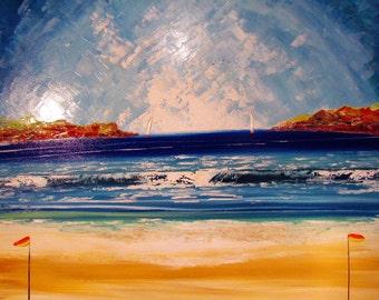 Italian Beach - Original Painting - Original Art -  Seascape art - unique artwork - home decor - sand - seascape - aqua - blue - art