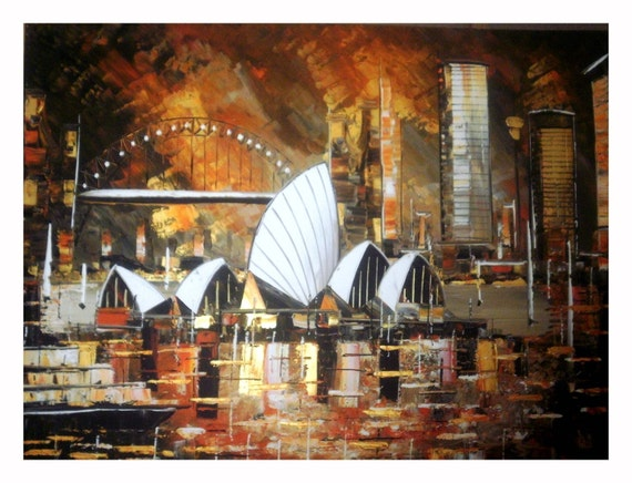 Sunset on Sydney - Original Painting - Acrylic on canvas - wall art - interior design - home decor - FREE SHIPPING -Pumpkin Orange - gold