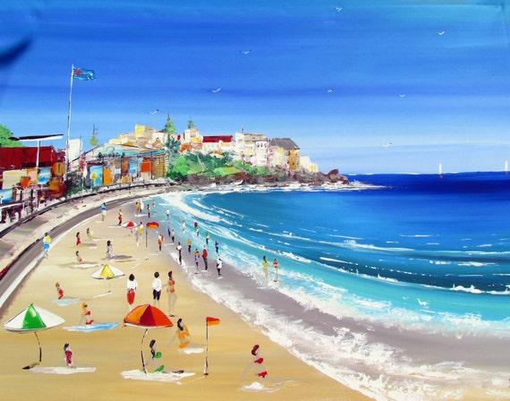Original Acrylic Painting on Canvas - Amazing day at Bondi Beach - FREE SHIPPING- Home decor - Wall art
