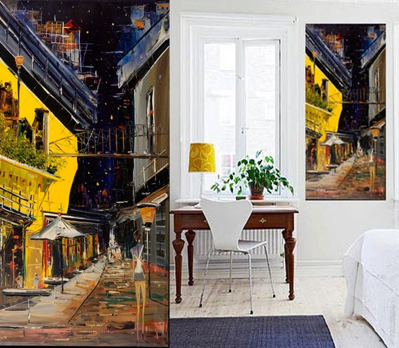 Paris Original Painting on canvas  Cityscape - Paris Scene - Art - Wall Art - Home decor - Yellow & Blue