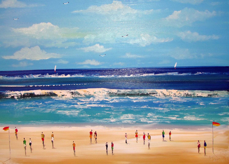 beach seascape acrylic painting original canvas blue white