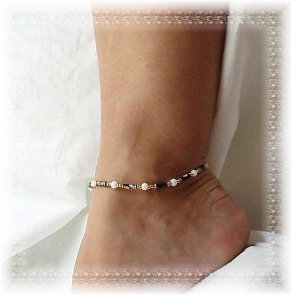 Dressy White Black Cloisonne Anklet Ankle Bracelet Gold Strong Adjust