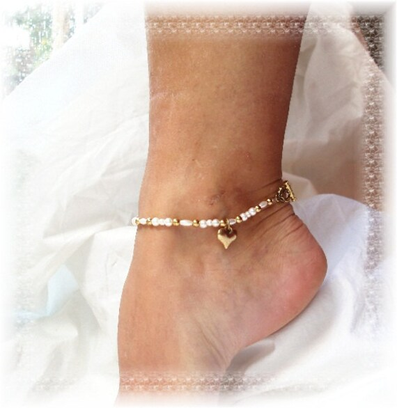gold charm anklet bridal jewelry seed pearl ankle