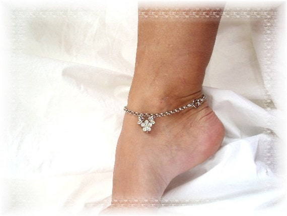 Girly Bling Rhinestone Flower Anklet Bridal Jewelry Silver Chain Ankle Bracelet 10
