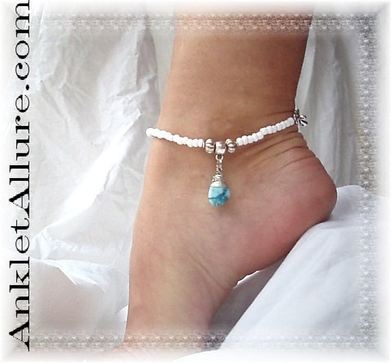 Southwestern Tribal Beach Gypsy Anklet Hand Wrapped Turquoise Ankle Bracelet 10