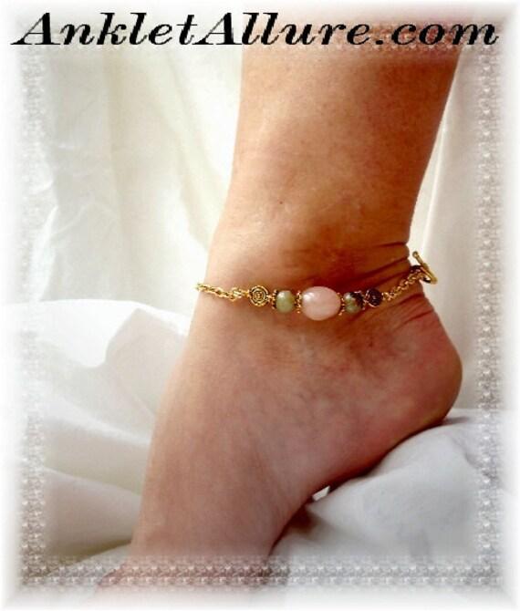 Southwestern Gentle Gypsy Gold Anklet Understated Soft Color Ankle Bracelet Strong