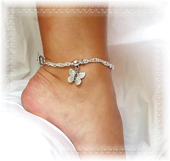 butterfly charm silver anklet western ankle bracelet 10 in