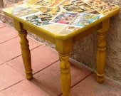 Vintage Up-cycled Yellow Comic Book Accent / Side Table