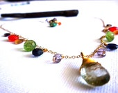Women's Size Rainbow Semi-Precious Gemstone Healing Necklace