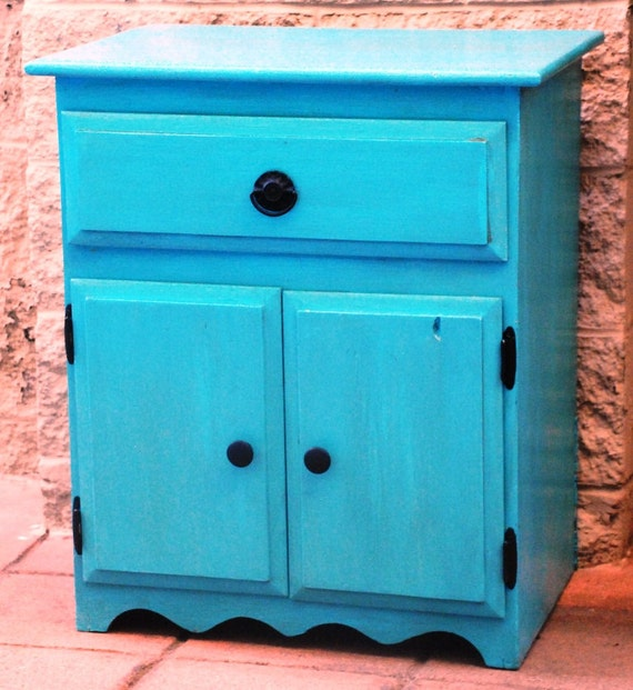 Turquoise Stained Storage Cabinet / TV Stand with Blacks Accents