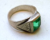 vintage antique sterling silver ring tribal antique handmade green glassstone