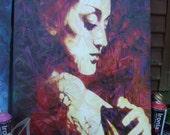 Ironlak woman portrait red graffiti canvas