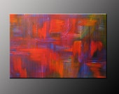 Abstract Painting Abstract Art Yellow Orange Purple Red Blue Large Contemporary Modern 24x36 Fine Art By Viviana Fleing