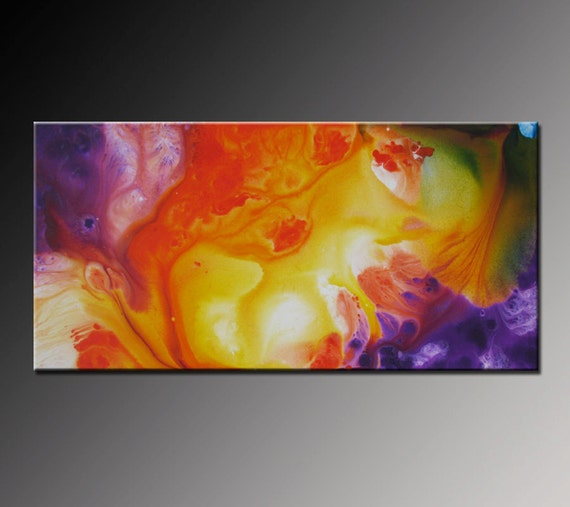 Abstract painting abstract art orange purple by vivianafleing for Purple and yellow painting