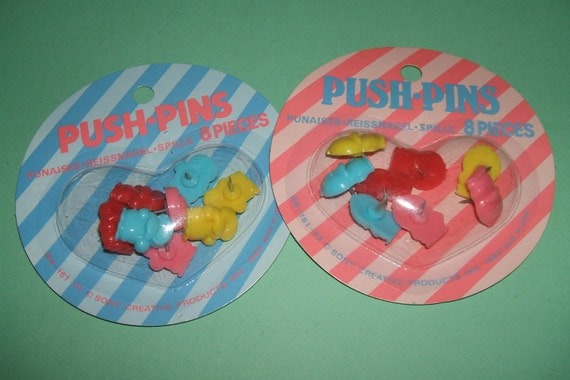 Rare Vintage 1980s Sony Creative Patsy Duck and Penjamin Push Pins - Set of 2