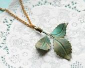 Verdigris Leaf Copper Necklace