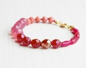 Hand Knotted gemstone Early Morning Spring Bracelet - Pink - No0.4