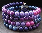 Purples, Pinks and Blues Memory Wire Bracelet with Glass Pearls and Swarovski Hearts - arabian nights