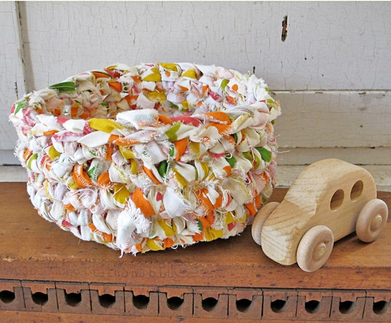 Rag Basket:  Great for Storage and Organizing.  Fun shades of Raspberry, Orange, Lemon, and Lime