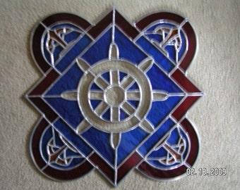 CUSTOM ORDER-Stained Glass Bevel Cluster Ships Wheel Panel
