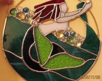 Custom Order only - Stained Glass Mermaid Ring Suncatcher
