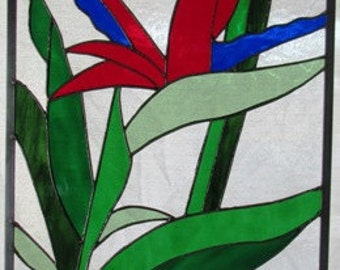 CUSTOM ONLY-Stained Glass Bird Of Paradise panel