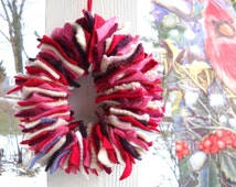 Wreath: Felted Wool Sweaters, Red, Pink, White, Candle Wreath, Tablescape, Wool Felt