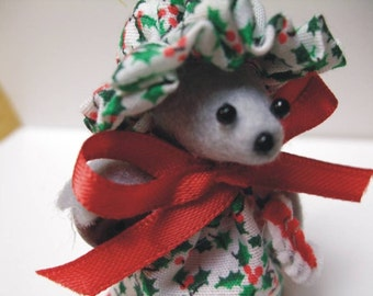 Free Shipping ) Holly Berry ... is. adorable handmade Country Mouse Ornament  By Terrys Country Shop  ( 129 )