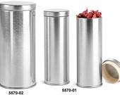 16 oz Metal Tins, Silver Metal Tea Tins w/ Metal Interior Seal Lids - Free Shipping in US