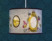 Two Little Mirror Birds. New Colourway - Yellow gold and Lavender grey. Lampshade for Pendant fitting. 30cm diameter.