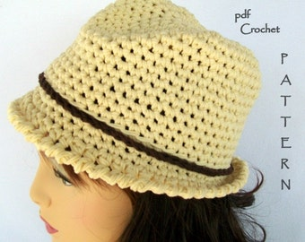 CROCHET PATTERN , The Double the Fun Cloche-Fedora Hat, Adult and Teen sizes