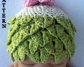 crochet baby hat crochet pattern crocodile stitch  Celtic Fairy Cloche  sizes 0-6 and 6-12 months