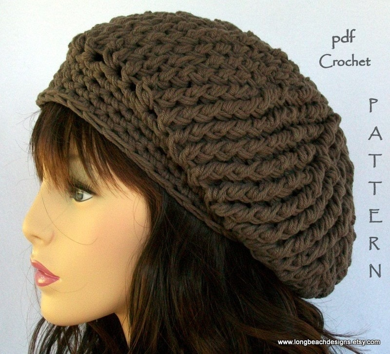 Crochet Patterns Slouchy Beanie : crochet hat pattern Fourth Avenue slouchy hat by longbeachdesigns