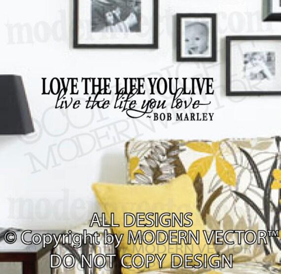 Bob marley quote vinyl wall decal inspirational by for Inspiratinal bob marley wall decals