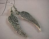 1 pair Antique Silver Angel wing - Earrings- S44