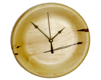 Wood Wall Clock, Turned Wood Wall Clock, Maple Wall Clock with Ambrosia Accents