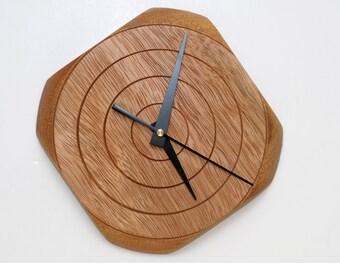 Square Clock, Turned Wood Clock, Wall Clock, Tornillo, Wall Decor, Gift