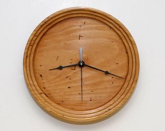 Turned Wood Clock, Wood Wall Clock, Wormy Beech Clock, Rustic Clock