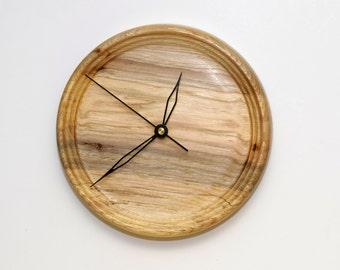 Wood Wall Clock, Turned Wood Clock, Spalted Pecan Wood Wall Clock
