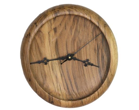 Wood Wall Clock, Turned Wood Clock, Spalted Beech Wood Clock