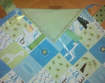 ON SALE! Double Sided Baby Zoo Flannel Sensory Tag Blanket (Vine Border Stitch)