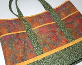 Quilted Tote: Green and Rust Sunflower Batik
