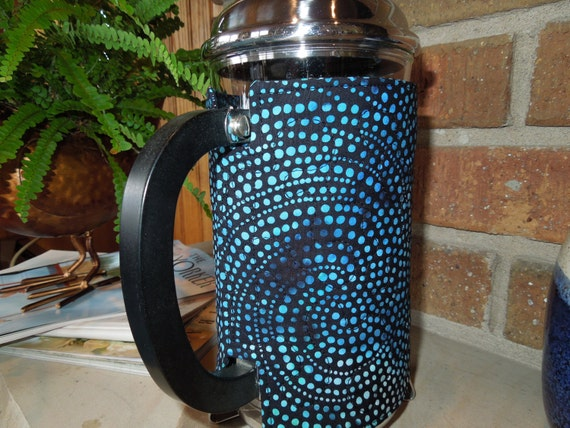 Quilted French Press Coffee Cozy: Black Dot Batik